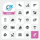Twenty-two flat unicolor Travel and Vacations related icons plus label with a ribbon. Exclusive Set #26.