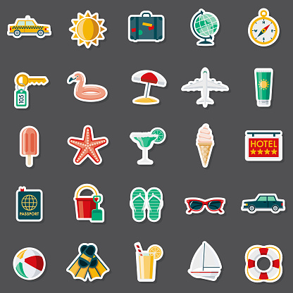 Travel and Vacations Sticker Set