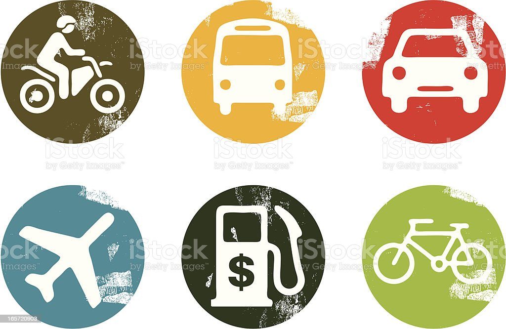 Travel and vehicle icons vector art illustration