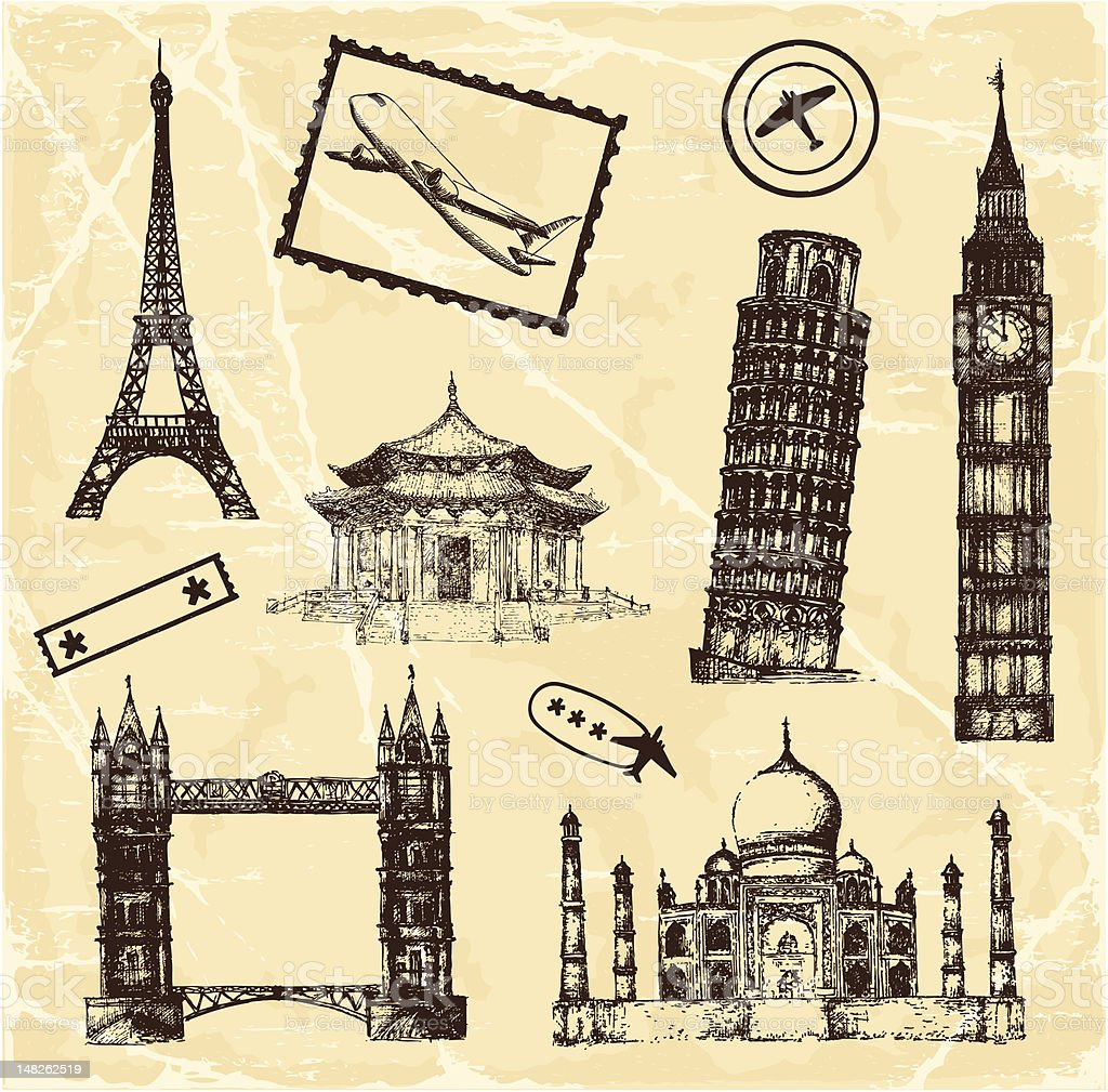 Travel Architecture Set royalty-free stock vector art
