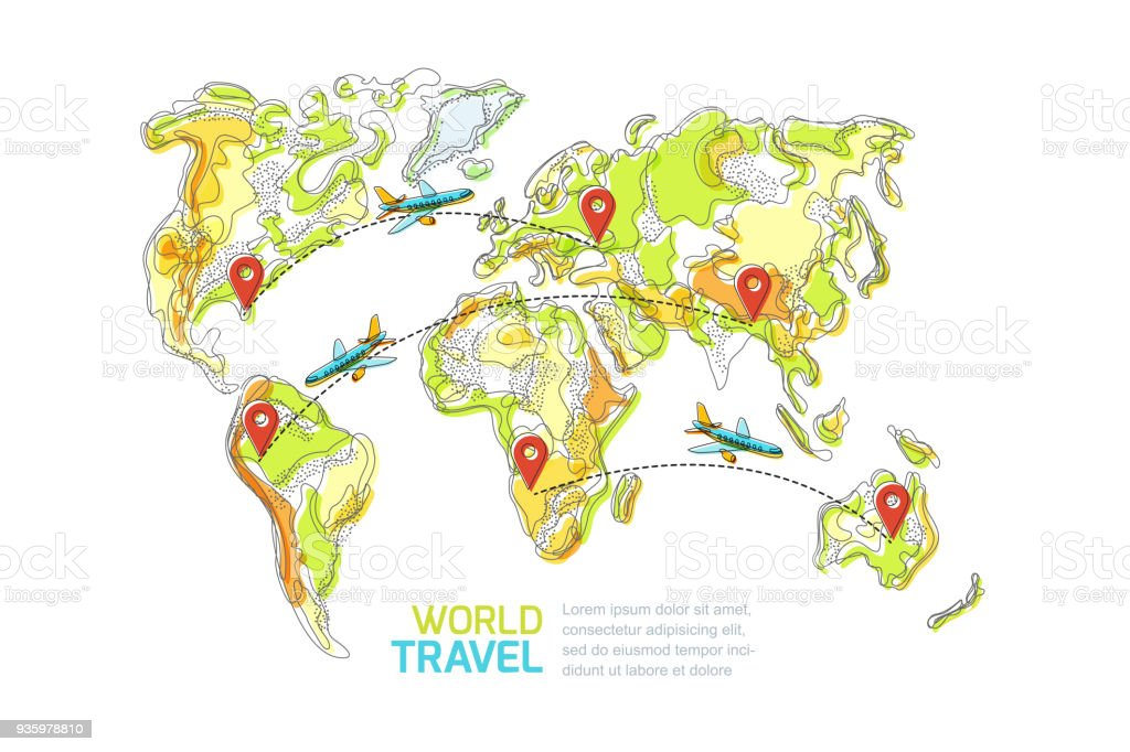 Travel around the world and tourism concept vector abstract world travel around the world and tourism concept vector abstract world map and flying airplanes gumiabroncs Choice Image