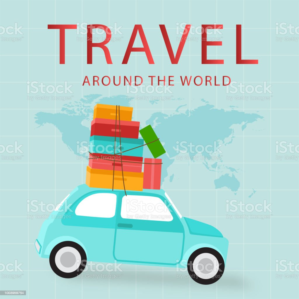 Travel Around The World Car Carries Baggage Background Vector Image