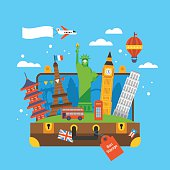 Travel around the world concept with landmark icons inside suitcase. Flat elements for web graphics and design. Isolated vector illustration