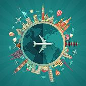 Travel around the world flat design illustration