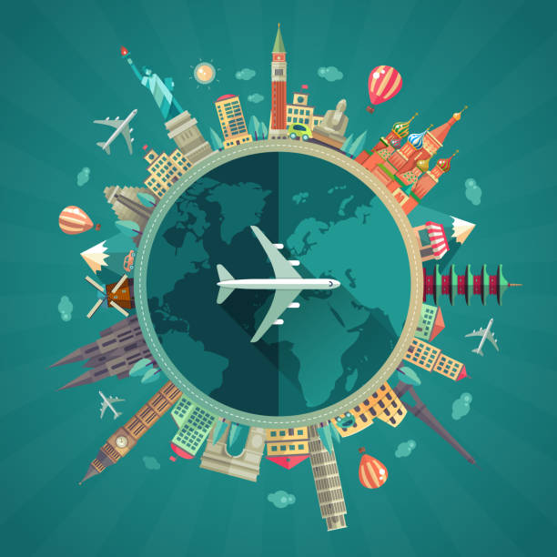 travel around the world flat design illustration - travel destinations stock illustrations