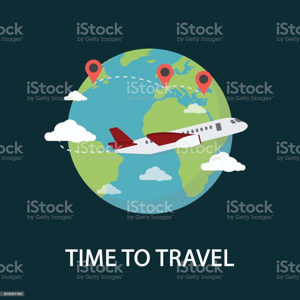 Travel Around The World Illustration. Travel and Tourism vector art illustration
