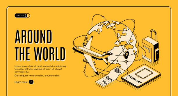 Travel around the world isometric landing page vector art illustration