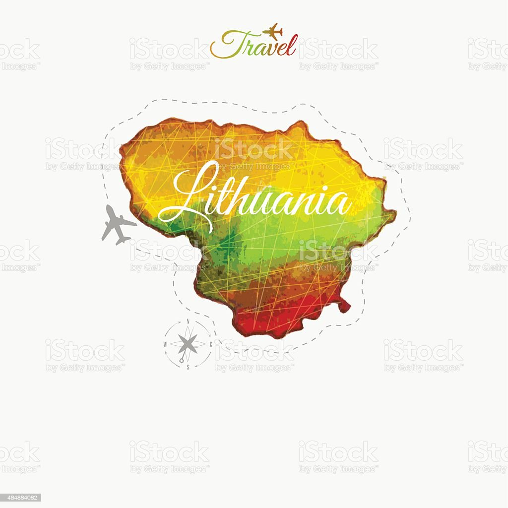 Travel around the  world. Lithuania. Watercolor map vector art illustration