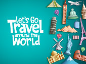 Travel around the world vector background design with famous tourism landmarks and world attractions elements and text in a blue empty space. Vector illustration.