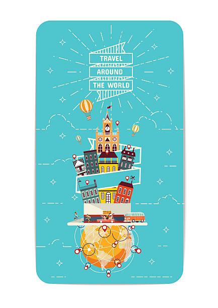 Travel Around the World Element of World travel Vector Illustrations airport patterns stock illustrations