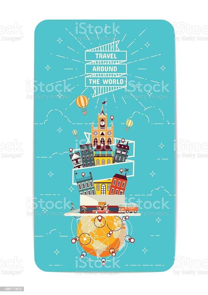 Travel Around the World vector art illustration