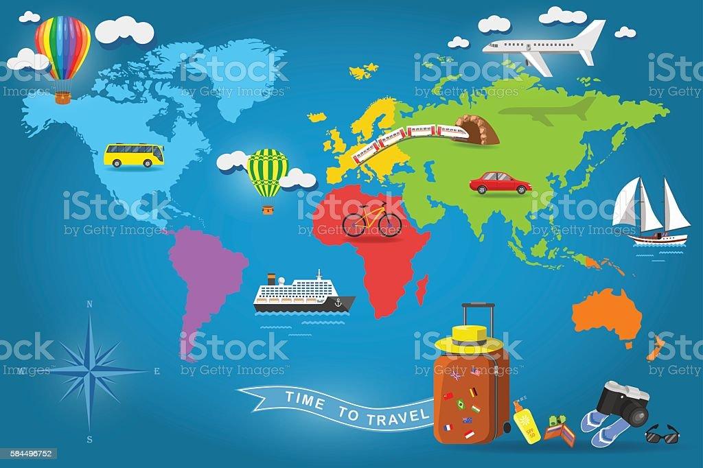 Viajar Por Todo El Mundo Viajar Por Todo El Mundo Dibujo A: Ilustración De Viajar Por Todo El Mundo Y Más Banco De