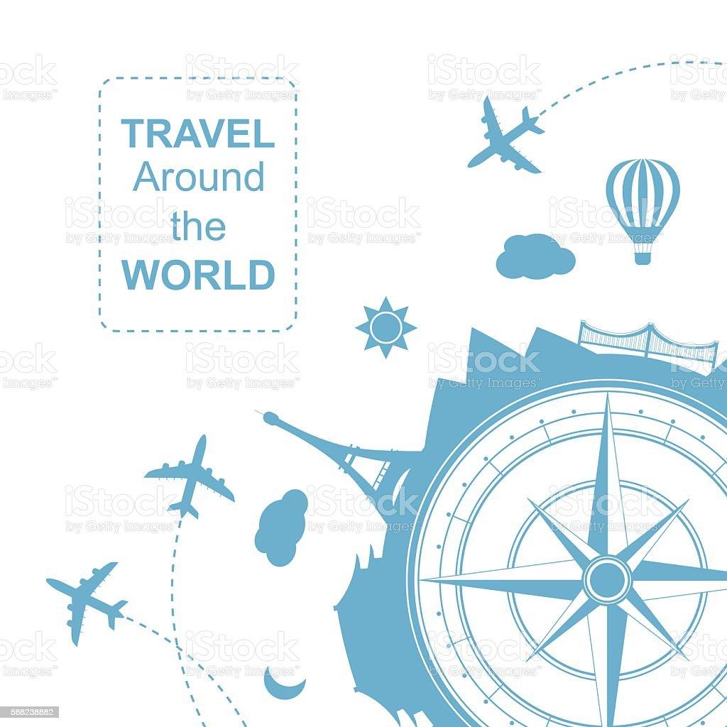 Travel around the world vector illustration ベクターアートイラスト