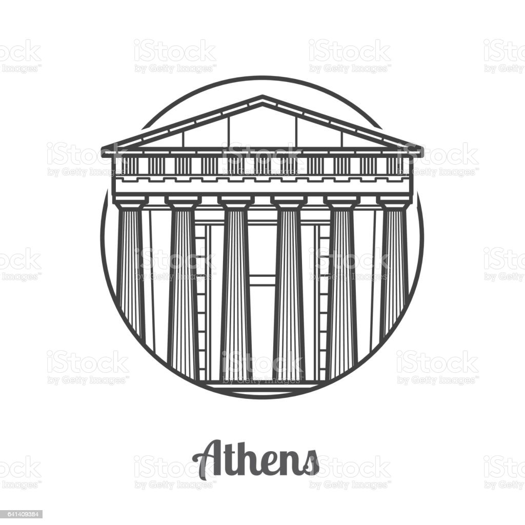 Travel Athens Icon vector art illustration