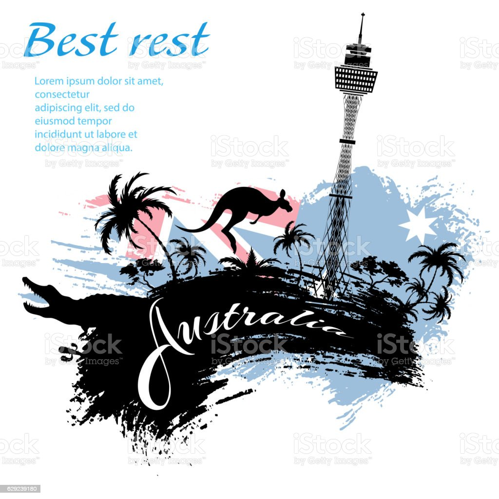 Travel Australia design in grunge style vector art illustration