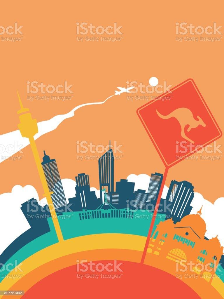 Travel australia world landmark landscape vector art illustration