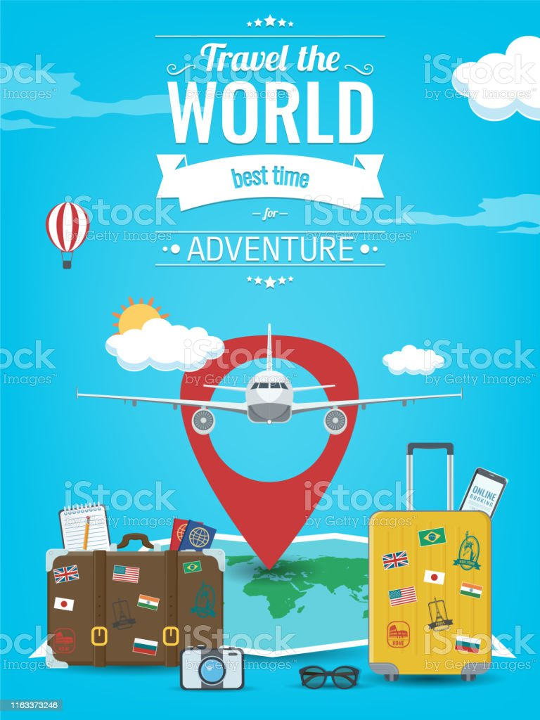 Travel Background With Luggage Airplane World Map And Other