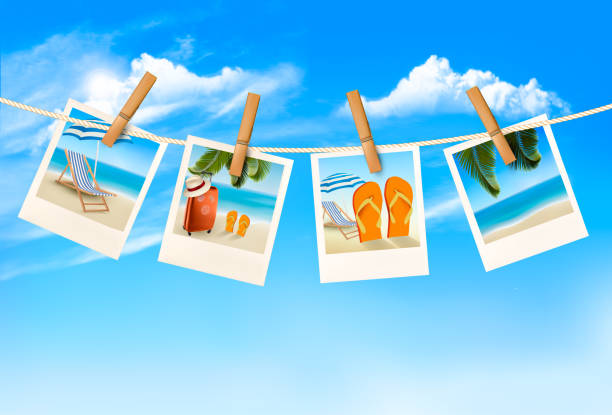 Travel background with vacation photos hanging on a rope. Vector Travel background with vacation photos hanging on a rope. Vector beach borders stock illustrations