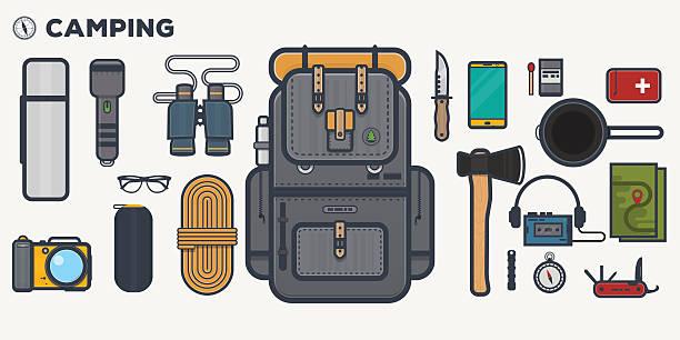 travel backpack line illustration - пищевая цепь stock illustrations
