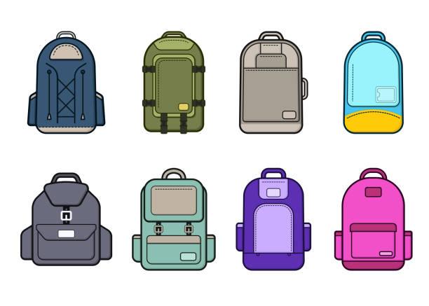 reise-rucksack-set. flaches design taschen auf weißem hintergrund - laptoptaschen stock-grafiken, -clipart, -cartoons und -symbole