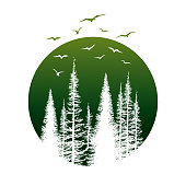 Vector illustration of a beautiful Travel Badge with Pine Trees and Birds over a green circle