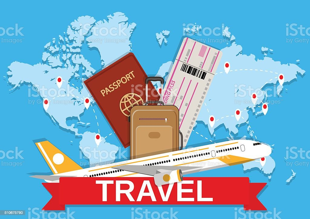 Travel bag and world map stock vector art more images of abstract travel bag and world map royalty free travel bag and world map stock vector art gumiabroncs Gallery