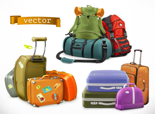 travel. bag, backpack, suitcase - luggage stock illustrations