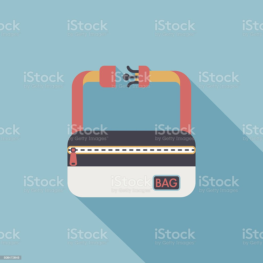 travel bag, flat icon with long shadow vector art illustration