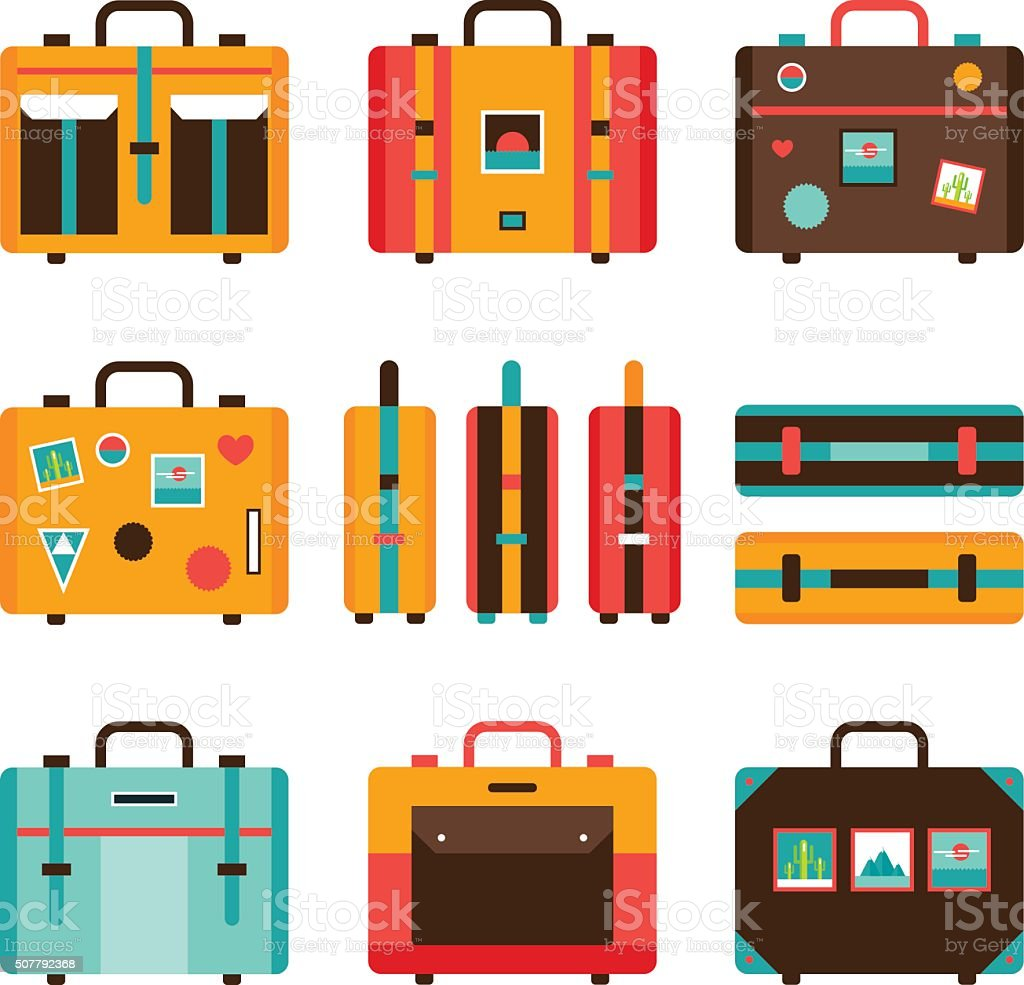 Travel bag icon set Colorful Suitcase collection vector art illustration