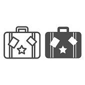 istock Travel bag line and solid icon, Sea cruise concept, vintage suitcase with stickers sign on white background, luggage icon in outline style for mobile concept and web design. Vector graphics. 1281185124