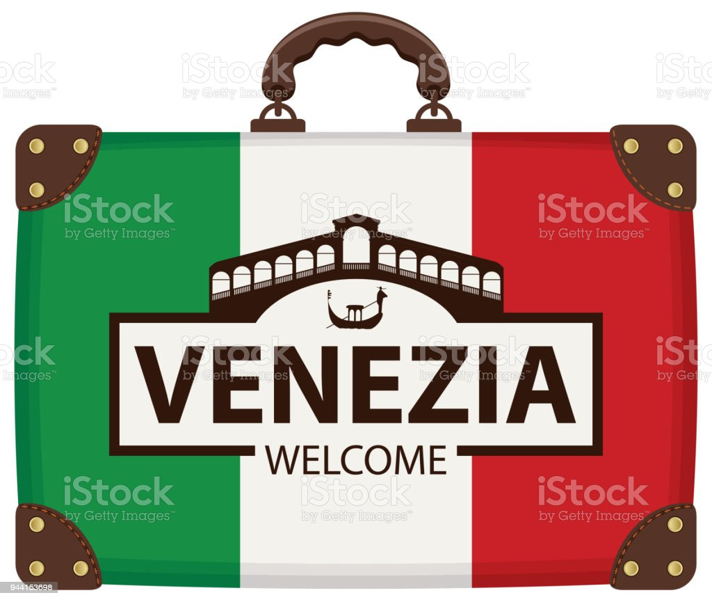 Travel bag with Italian flag and Ponte di Rialto vector art illustration