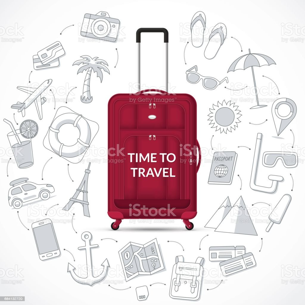 Travel bag with the set of tourism, journey, summer vacation doodle icons. Time to travel concept illustration travel bag with the set of tourism journey summer vacation doodle icons time to travel concept illustration - immagini vettoriali stock e altre immagini di concetti royalty-free