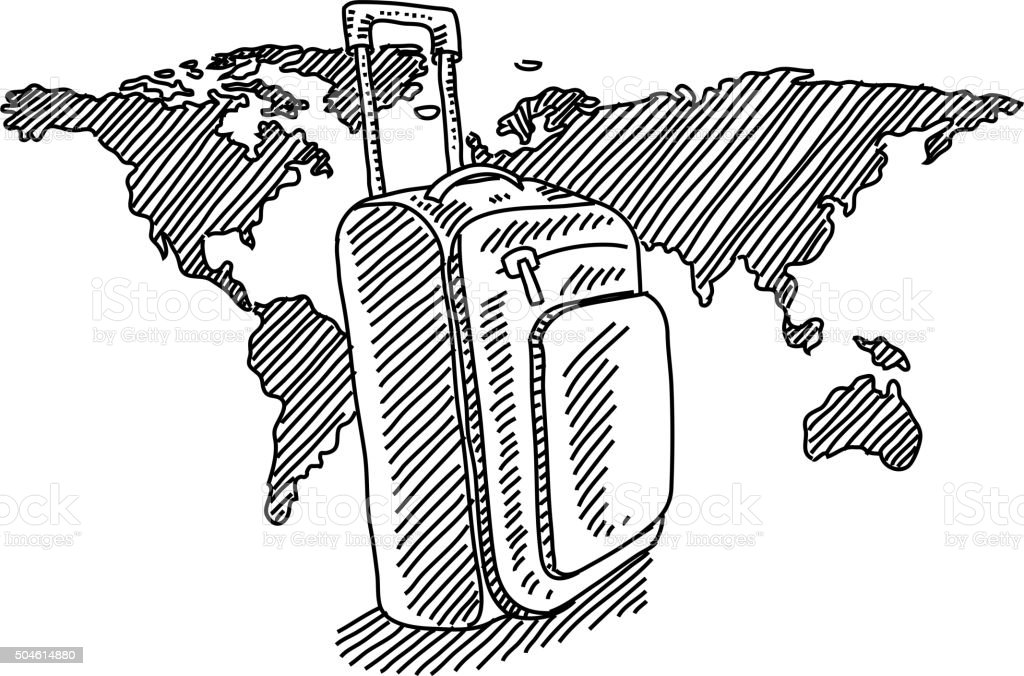 travel bag with world map drawing stock vector art more images of