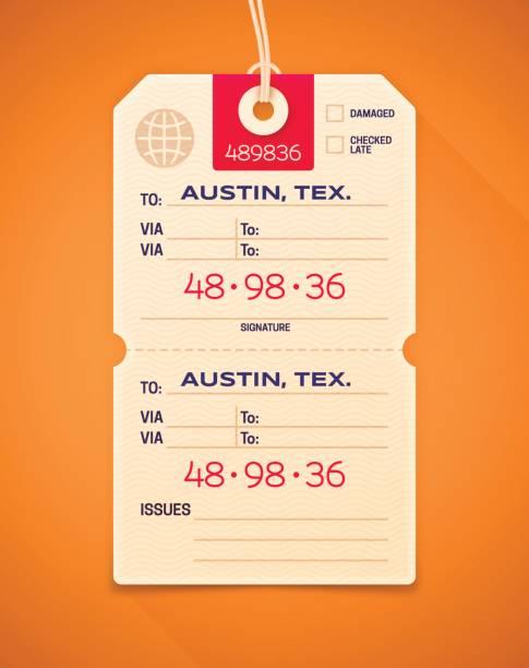 Reise Gepäck Anspruch Ticket – Vektorgrafik