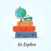 Travel baggage with globe.
