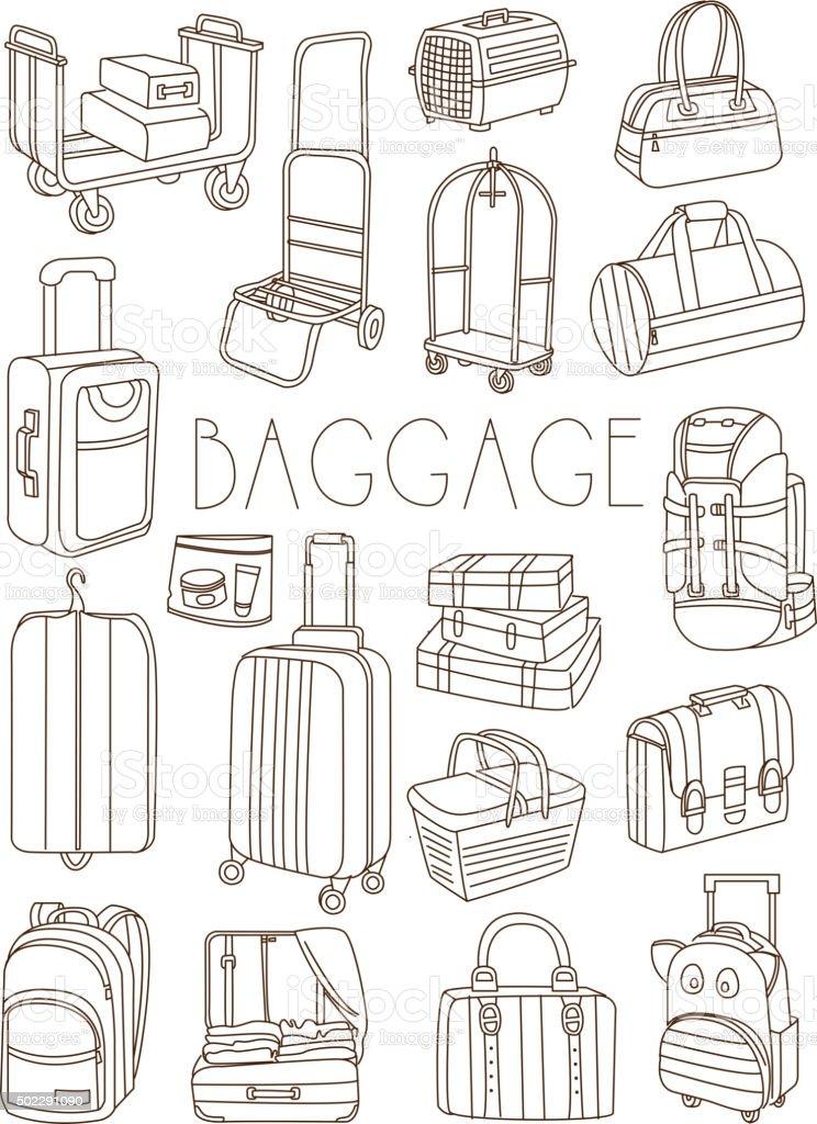 Viaggio borse e valigie disegno a mano set vettoriale - Lista cose da portare in viaggio ...