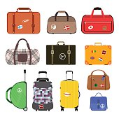 Travel bags vector illustration. Travel bags isolated on white background. Travel bags collection. Travel bags stickers, labels, flags. Different countries travel flags. Travel bags for traveling. Travel bags vector