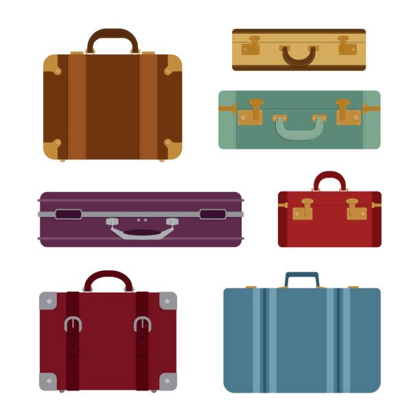 Travel bags vector set Travel bag vector set - Illustration airport clipart stock illustrations