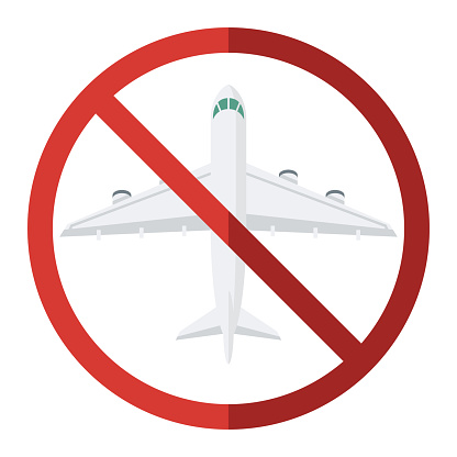 Travel Ban Icon on Transparent Background