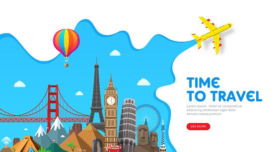 Travel banner design with famous landmarks for popular travel blog, landing page or tourism website. Minimal flat style. Vector illustration