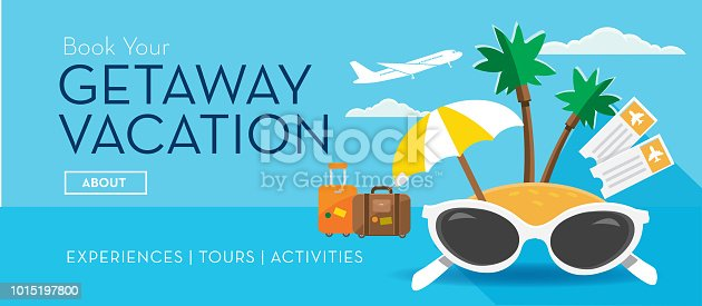 Vector illustration of a Getaway vacation tropical island Travel and Tourism Flat Design themed web banner with shadow. Includes airplane tickets, tropical beach island, luggage, sunglasses and umbrella. Vector eps 10, fully editable.