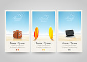 Travel banner set with surf, laptop, bag.
