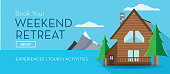 Vector illustration of a Travel and Tourism Flat Design themed web banner with shadow.  weekend retreat cottage log cabin. Vector eps 10, fully editable.