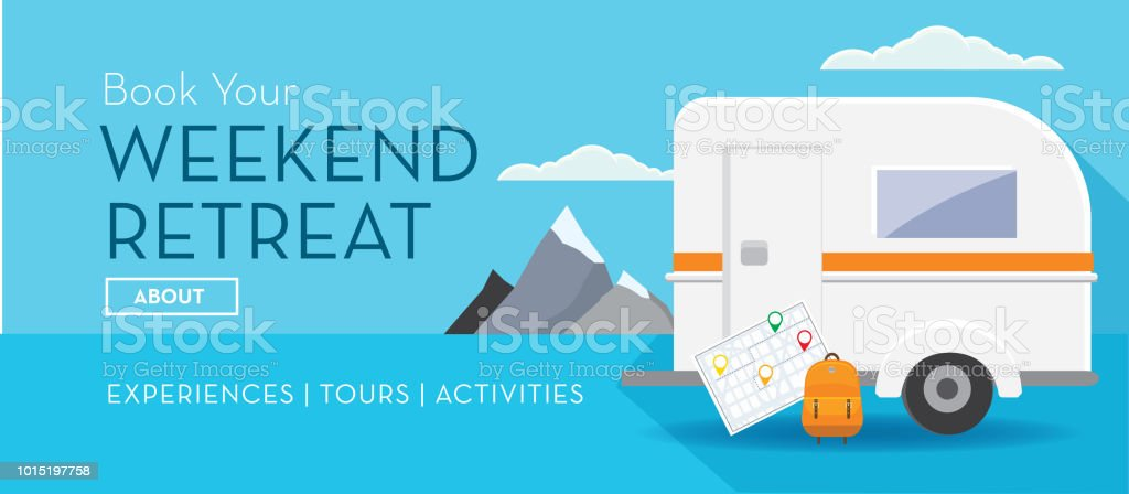 travel banner weekend retreat rv camper trailer design template