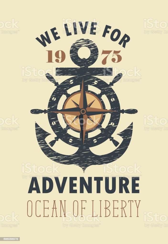 travel banner with anchor, helm and Rose of Wind vector art illustration