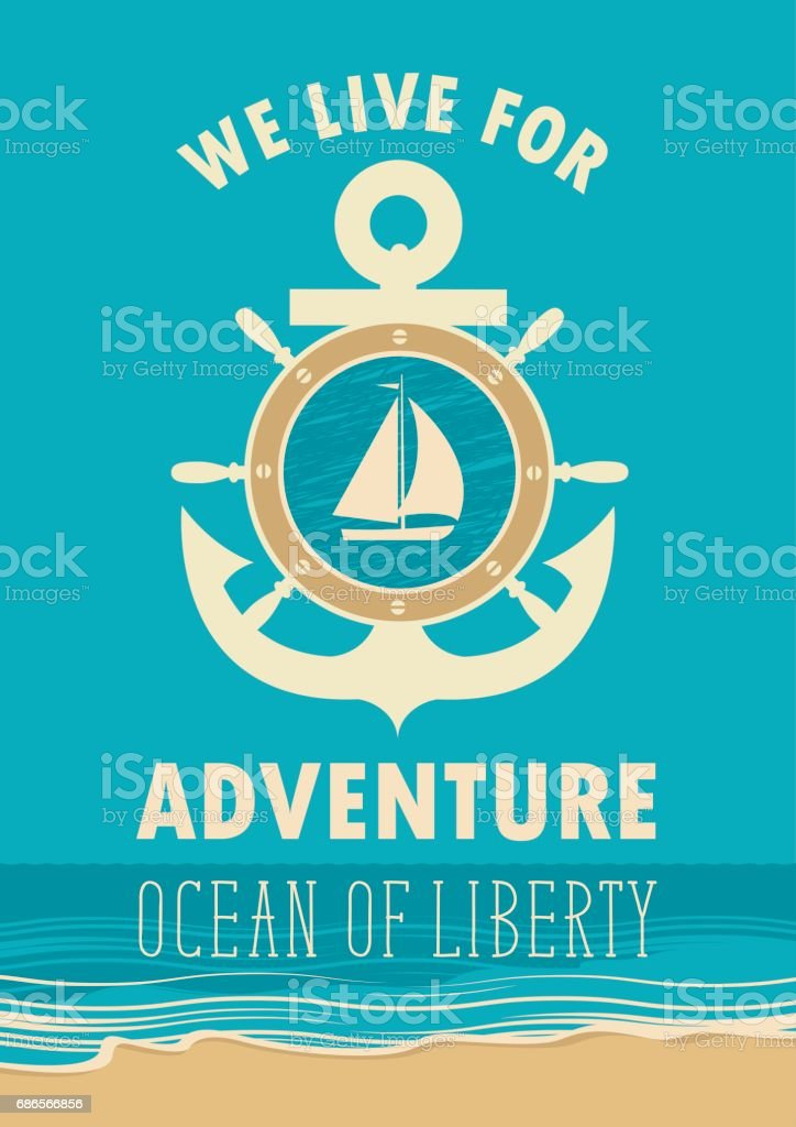 travel banner with anchor, sailboat and ships helm vector art illustration