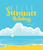 travel banner with beach, sea, clouds and sailboat