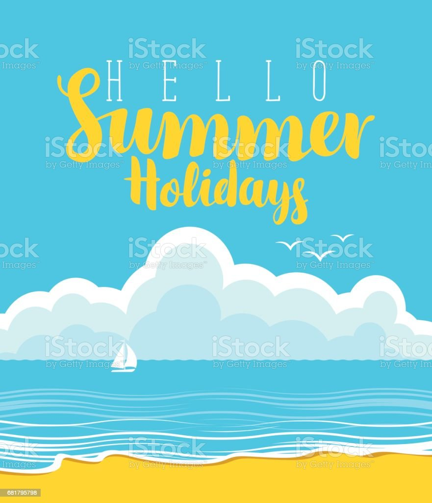 travel banner with beach, sea, clouds and sailboat vector art illustration