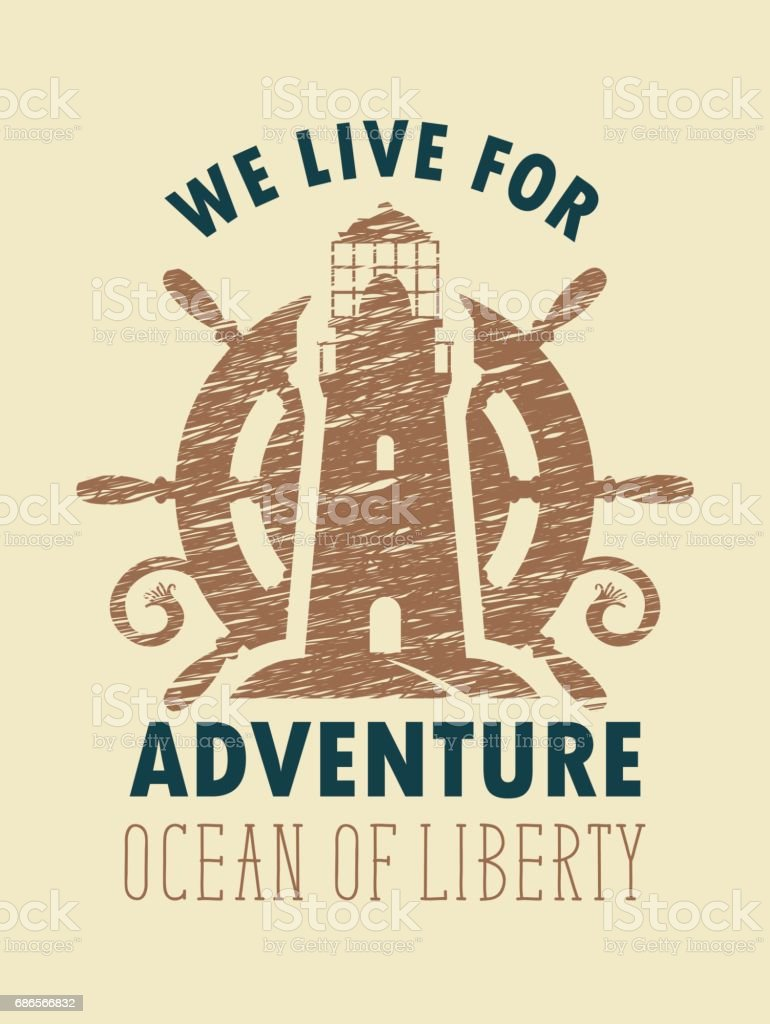 travel banner with lighthouse and ships helm vector art illustration