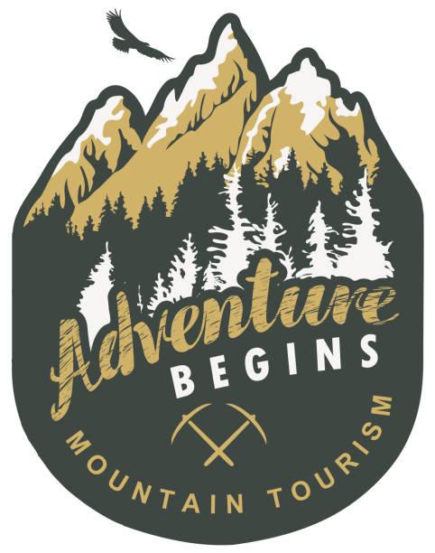 illustrazioni stock, clip art, cartoni animati e icone di tendenza di travel banner with mountains and flying eagle - negozio sci